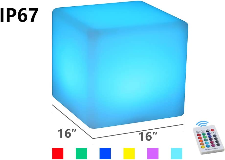 BLUEYE LED Cube Chair Light:16-Inch Cordless LED Cube Seat for Adult, New Easy Charging LED Module,Remote Control,16 RGB Color, Home Garden Party Decoration