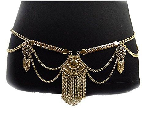 - SIYWINA Hot Sexy Waist Belt Belly Unibody Body Chain(Gold)