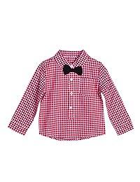 Chinatera Baby Boys' Gentleman Shirt Plaid Bow Tie Long Sleeve Shirt Clothes