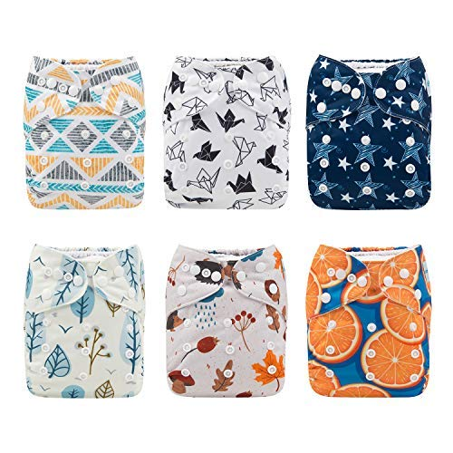 Babygoal Baby Cloth Diapers, Washable Reusable Pocket Nappy, 6pcs Diapers+6pcs Microfiber Inserts+4pcs Bamboo Inserts 6FB07