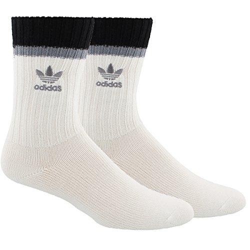 Adidas Tennis Crew Socks (adidas Men's Originals Loose Fit Single Crew Socks, Off White/Black/Grey, Size 6-12)