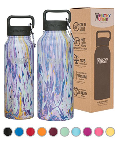 Healthy Human Stainless Steel Insulated Travel Sports Water Bottle Thermos - Leak Proof - No Sweating, Keeps Your Drink Hot & Cold - Violet Haze - 32 oz