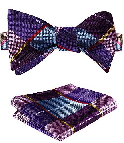 SetSense Men's Plaid Jacquard Woven Self Bow Tie Set
