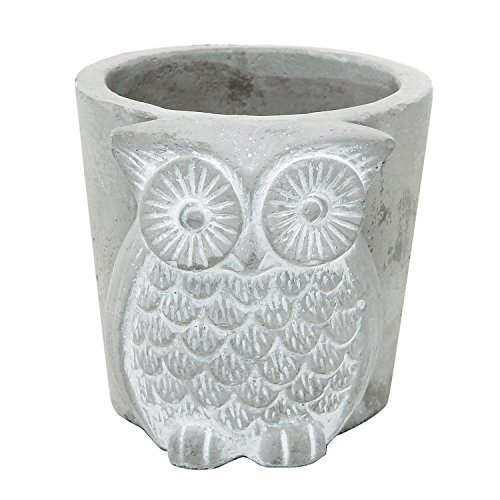 Handmade Gray Unglazed Ceramic Owl Succulent Planter / Mini Bud Flower & Herb (Adorable Vintage Porcelain)