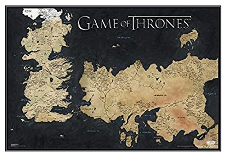 Game of Thrones Map of Westeros and Essos Framed Poster Quality ...