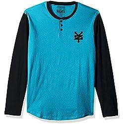 Zoo York Men's Long Sleeve Henley Shirt, Prospect Tile Heather, Large