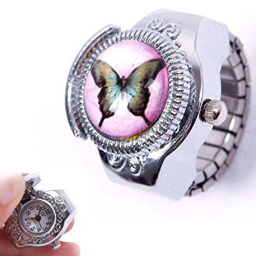 (Eachbid Smart applied Fantastic Child Lady Girl Steel Butterfly Elastic Quartz Finger Ring Watch Gift )
