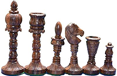 "Wooden Chess Set World Wonder THE TAJ Symbol of Love Design King 4"" 32 Chess Pieces"