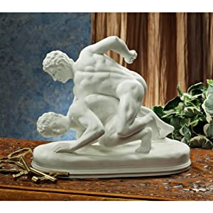 "Amazon.com: 9"" Classic Nude Greek Wrestlers Bonded Marble ..."