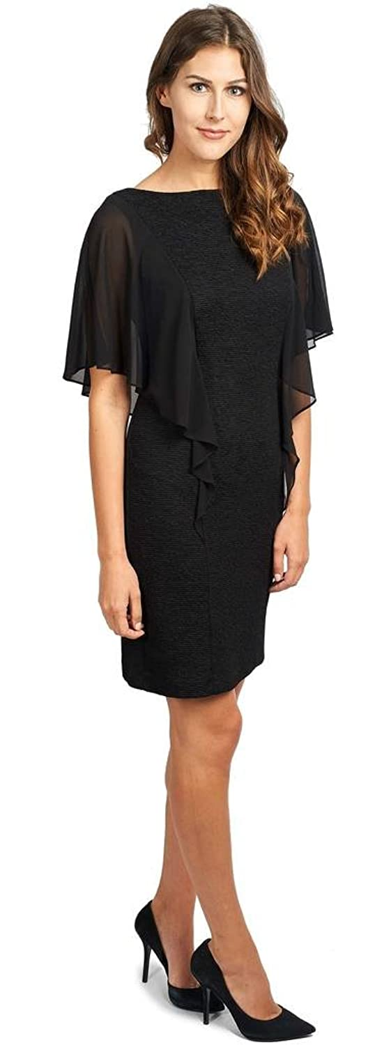Joseph Ribkoff Black Textured Dress With Sheer Overlay Style 173440 at Amazon Womens Clothing store:
