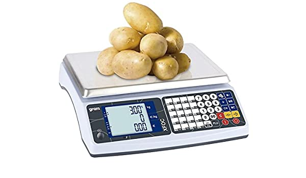 Balanza para mostrador con peso y precio, ideal para mercadillos y venta ambulante, 15/30 kg, precisión de 5/10 g: Amazon.es: Oficina y papelería