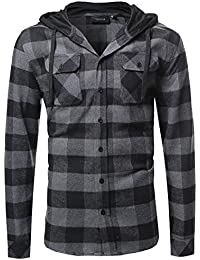 Youstar Men's Plaid Attachable Hoodie Flannel Shirt