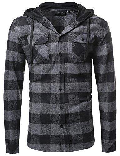 9d7f917f7d772 Plaid Attachable Hoodie Flannel Shirt Black Charcoal Size S ...