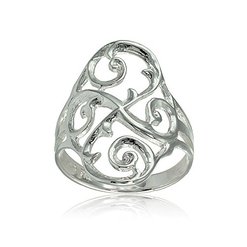 (Sterling Silver Filigree Celtic Swirl Ring, Size 10)