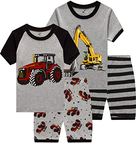 Boys Monster Truck Pajamas 4 Pieces Baby Clothes Summer Kids Bigfoot Car Short PJs Set 8t
