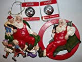 Kurt Adler Coca Cola Santa Claus Ornament Pair