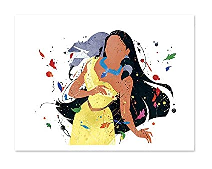 e11333585cead Image Unavailable. Image not available for. Color: Pocahontas Inspired  Princess Watercolor Art Print Wall ...