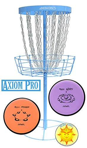 Axiom Pro Disc Golf Basket (Light Blue) + 2 Discs + Sun King Sticker by Axiom