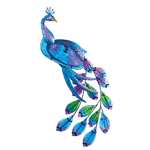 Collections Etc Glass Peacock Wall Decor, Blue