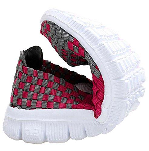 Glissement Jane À Couleurs Casual Fitness De Baskets Sandales Chaussures Marche 2 Taille Sur 5 Tissé Fuschia1 Plat Formateurs 7 Élastique Gfone Léger Dames wXqIa1w