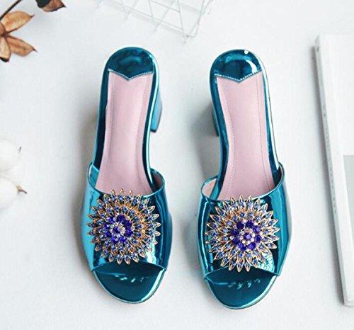 PBXP Hausschuhe OL 6 cm Chunky Ferse Elegante Strass Blumen Dekoration Anti-Rutsch Komfortable Casual Fashion Schuhe EU Größe 34-40 , blue , 37