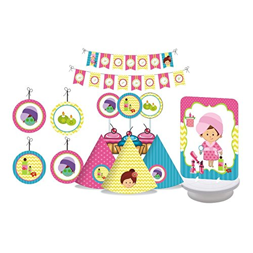 Spa Party. Spa Party Birthday Decorations for Girls. Spa Day. Includes Party Hats, Centerpieces, Bunting Banner, Danglers and Cupcake Toppers. by W&N Distribution (Image #6)