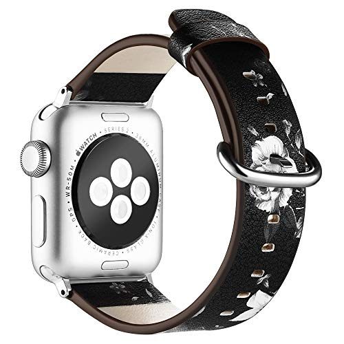 Anjoo Compatible Apple Watch Band 38mm/ 40mm, Floral Pattern Printed Leather Replacement iWatch Wristband with Metal Buckle for iWatch Series 4 3 2 1 Sport and Edition, Flower Design for Women Girls