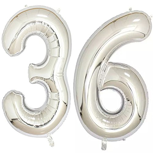 40inch Silver Foil 36 Helium Jumbo Digital Number Balloons, 36th Birthday Decoration for Women or Men, 36 Birthday Party -