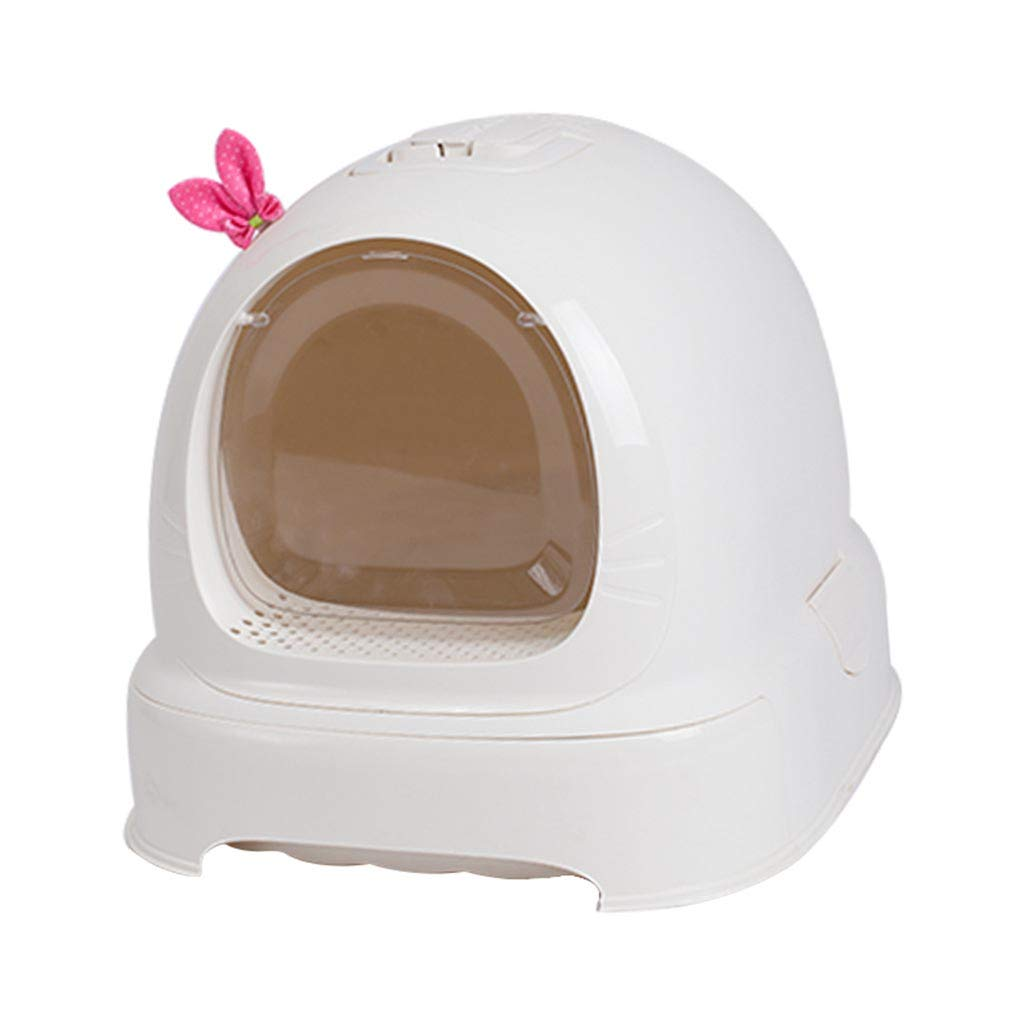 Cat Litter Box Jumbo, Fully Enclosed Cat Litter Pan, Deodorant and Splash Proof Falling Sand Pedal Kitty Litter Box, Litter Box System,White by Costrov
