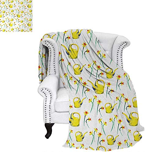 """Weave Pattern Blanket Daffodils and Watering Cans Pattern Watercolor Style Print Gardening Theme Custom Design Cozy Flannel Blanket 60""""x36"""" Yellow and White"""