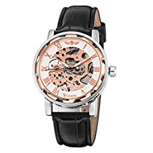 GuTe Classic Steampunk Bling Mechanical Wristwatch Hand-wind Skeleton Rose-gold White Unisex