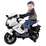 COLOR TREE Kids Ride On Car Electric Motorcycle 12V Power with Training Wheels,White