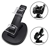 Lasuavy DualShock 4 Dual Charging Station - PS4 Controller Charger Dock with USB Cable & 4 Crystal Terminals - 8 Thumb Grips for Joysticks Included - Black