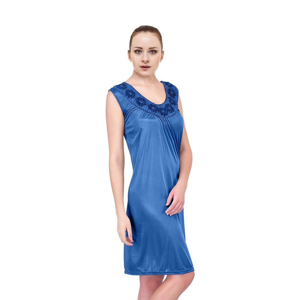 EZI Women's Satin Silk Sleeveless Nightgown Nightgowns4