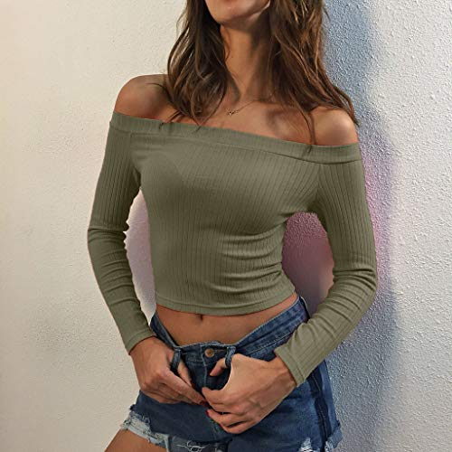 Blouse Verde Striped Long Off T Short Womens Del shirt Sleeve Fashion Solid Ejército Tops Shoulder 2019 Jutoo Sw6pqz8
