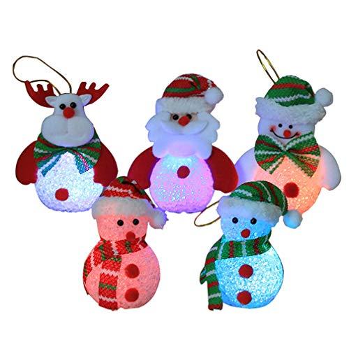 Karen accessories 5 Pcs LED Light Up Snowman Santa Claus Figure Set, Eva Lighting Crystal Snowman Santa Claus for - Snowman Eva