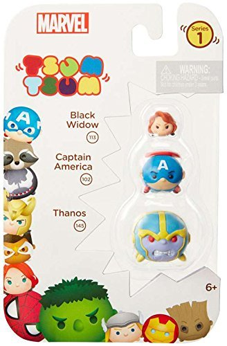 Tsum Tsum Marvel 3-Pack: Thanos/Captain America/Black Widow Toy Figure -