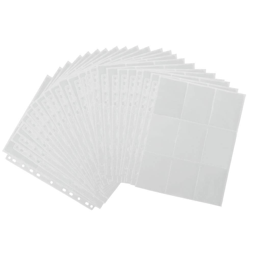 BUZIFU 450 Pcs Pochettes de Cartes Pokémon Cartes de Jeu,50 Feuilles Poches de Cartes à Manches pour Collecte de Cartes de Pokemon,World of Warcraft,Stickman,Guerre des étoiles,Star Trek(Transparent)