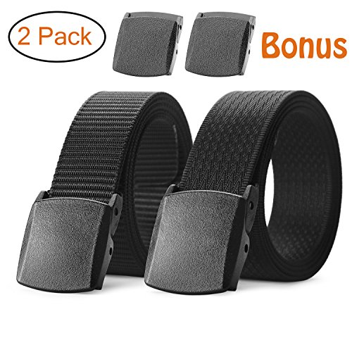 JASGOOD Mens Nylon 1.5in Width Adjustable Belt With Military Plastic Buckle (3-1-Fit waist size up to 45in, Tan Black+029 Xi Black)