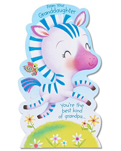 American Greetings Zebra Father's Day Card for Grandpa from Granddaughter with Foil (5873428)