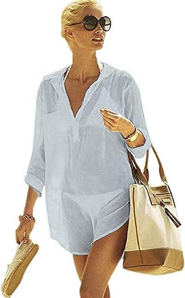 heekpek Femme Bikini Couvrir Plage Robe Col V Robe /Ét/é Maillots de Bain Plage Couvrir Chemiser Tenue de Plage Femme Bikini Cover Up