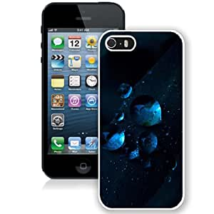 Macro Water Drops Dark Blue Grass (2) Durable High Quality iPhone 5S Phone Case