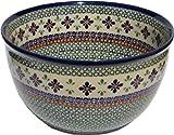 Polish Pottery Mixing Bowl 5 Qt. Decoration Inside From Zaklady Ceramiczne Boleslawiec #986/1-du60 Unikat Pattern