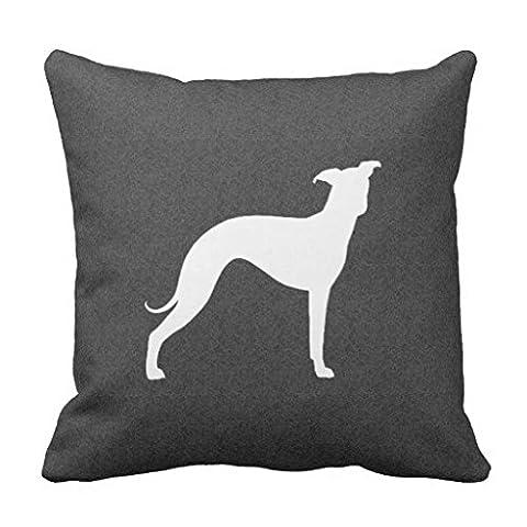 Italian Greyhound Silhouette Throw Pillow Case - Italian Mustard