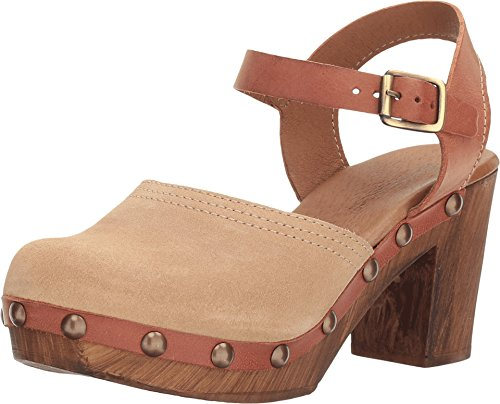 Eric Michael Harley Womens Taupe Leather Ankle Strap Block Heel Sandals (39 EU/8.5 US, Taupe/Combo) (Birkenstock With Heel Strap)