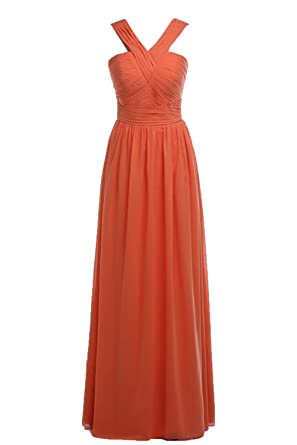 00662e1fb4283 Honey Qiao Orange Halter Long Bridesmaid Dresses Chiffon Prom Gowns Full  Length