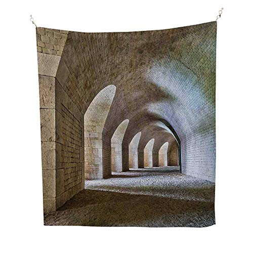 Medievalfunny tapestryCastle Tunnel Interior with Arches in a Bastion Fortress Historical Design 60W x 80L inch Quote tapestrySand Brown Cream