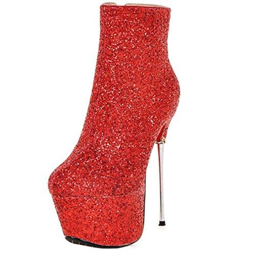 Enmayer Womens Scarpe Con Materiale Glitter Scarpe Con Tacco Alto E Piattaforma Con Cerniera Rossa
