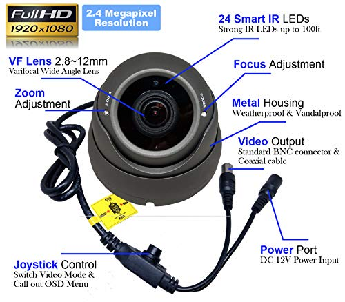 1stPV 1080P True-HD 4in1 TVI, AHD, CVI, CVBS CCTV Security Day Night Color IR Dome Camera 2.8-12mm Varifocal Lens Sony 2.4 Megapixel STARVIS WDR Weather Vandalproof Metal Housing 12VDC Charcoal