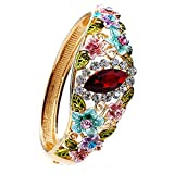 Women Rose Retro Flower Cloisonné Enamel Gold plating Bangle Bracelet with Austrian Crystals Craft Jewelry 5 Colors